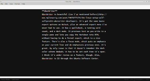 Screenshot of markdown editor UberWriter