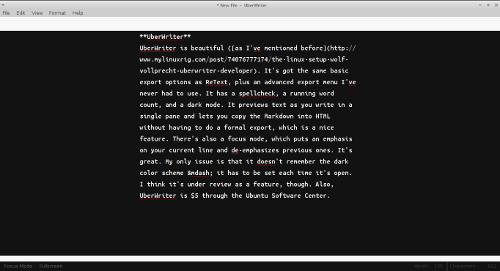 Screenshot of markdown editor UberWriter