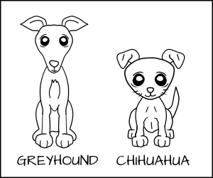Cartoon of a Greyhound and a Chihuahua