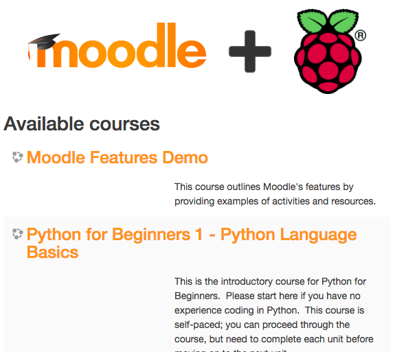 MoodleBox available courses page