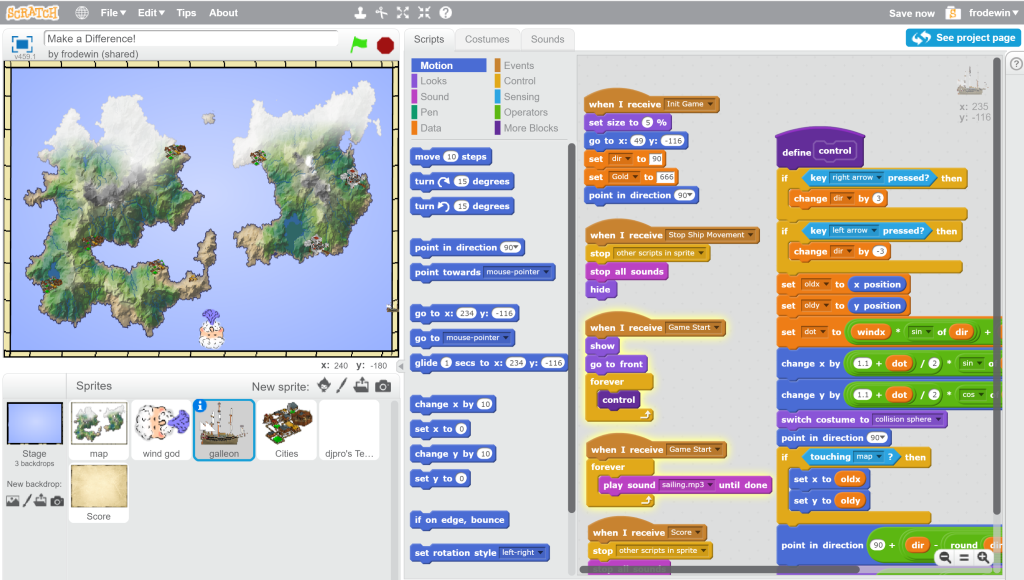 Scratch programming interface