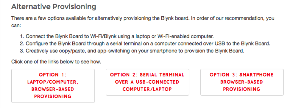 Alternative provisioning Blynk board