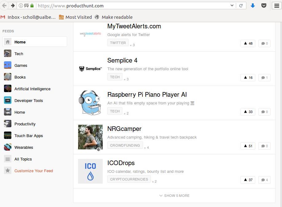 product hunt screen shot