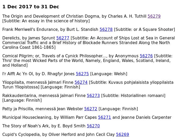 Project Gutenberg index