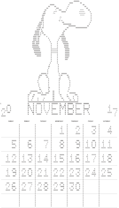 Calendar page generated by Fortran