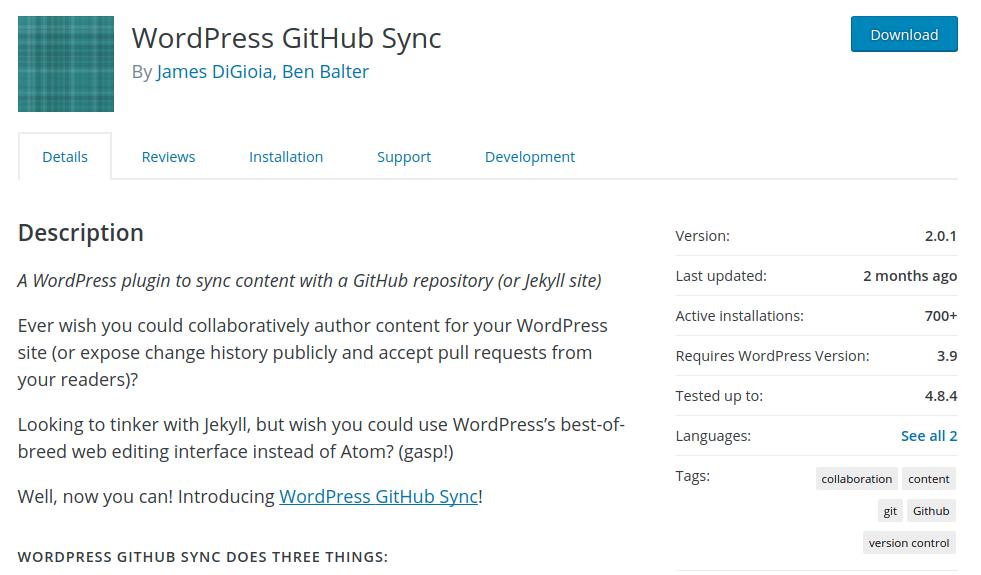 wordpress github sync