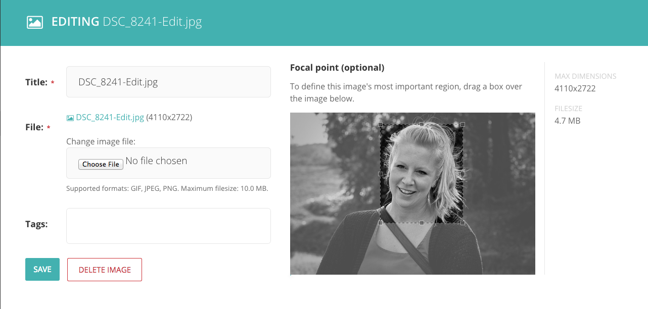 Wagtail admin user interface