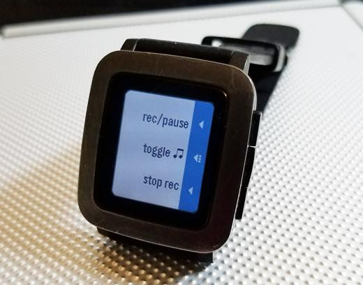 PebbleTasker interface on my Pebble Time smartwatch