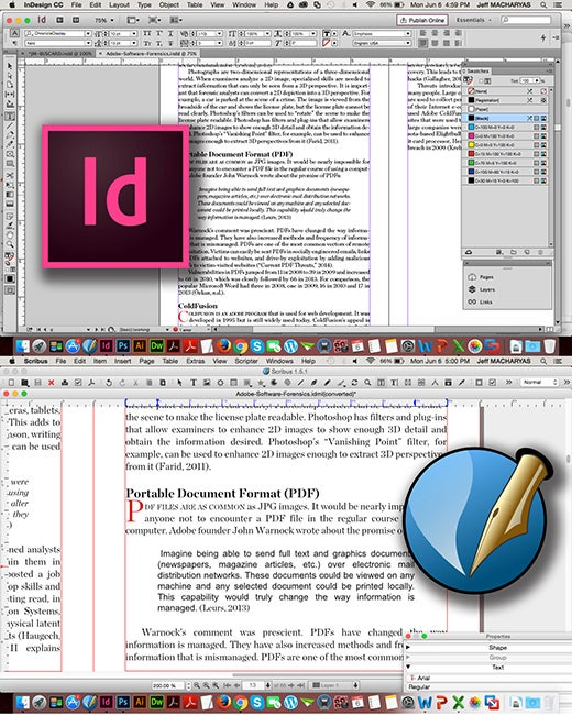 InDesign .idml file opened with Scribus.