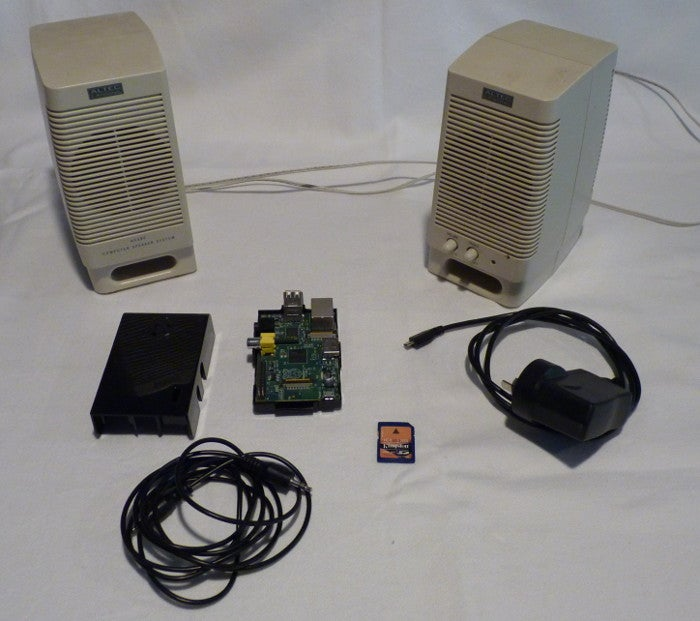 Initial PoC hardware, including old PC speakers