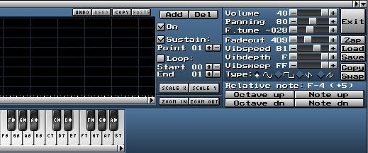 MilkyTracker Instrument Editor panel