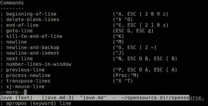 Jove, a surprisingly small and effective Emacs clone