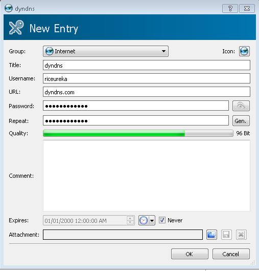 New KeePassX entry window