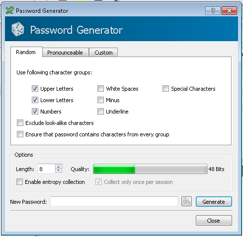 KeePassX password generator