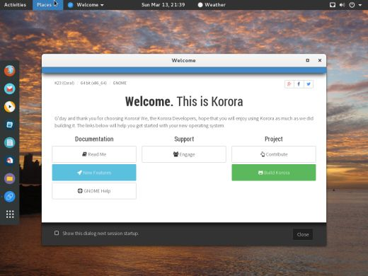 Korora welcome screen