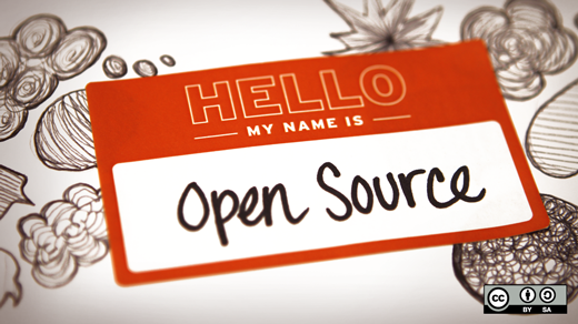 name tag that says hello my name is open source