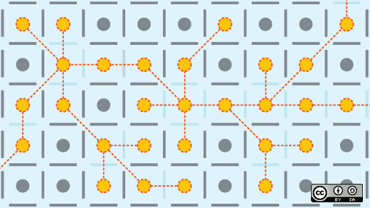 connecting yellow dots in a maze