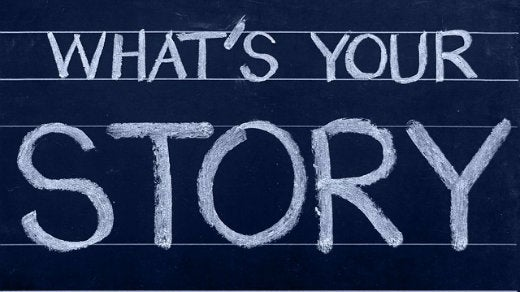 """what is your story"" on chalkboard"
