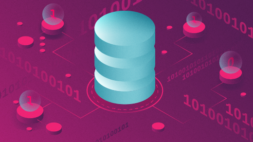 Data stack in blue