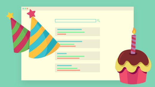 Browser window with birthday hats and a cake