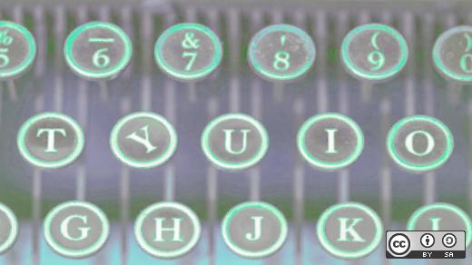 Typewriter keys in multicolor