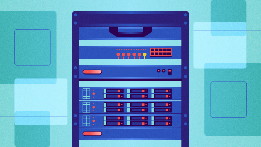 A rack of servers, blue background
