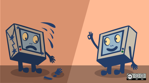 Two animated computers waving one missing an arm