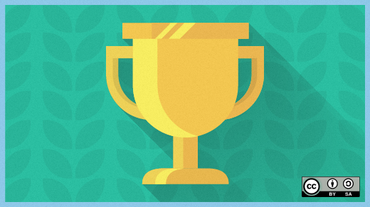 Gold trophy on green background