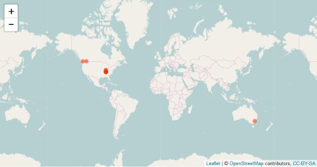 Map of tweets by location