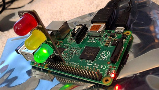 Pi Traffic Light plugged into a Raspberry Pi