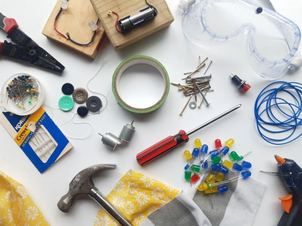 A maker kit assembled in a quick trip to the hardware store