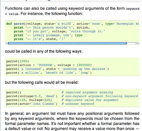Screenshot of Python documentation with Monty Python skit references