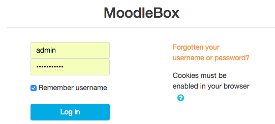 Moodlebox login screen