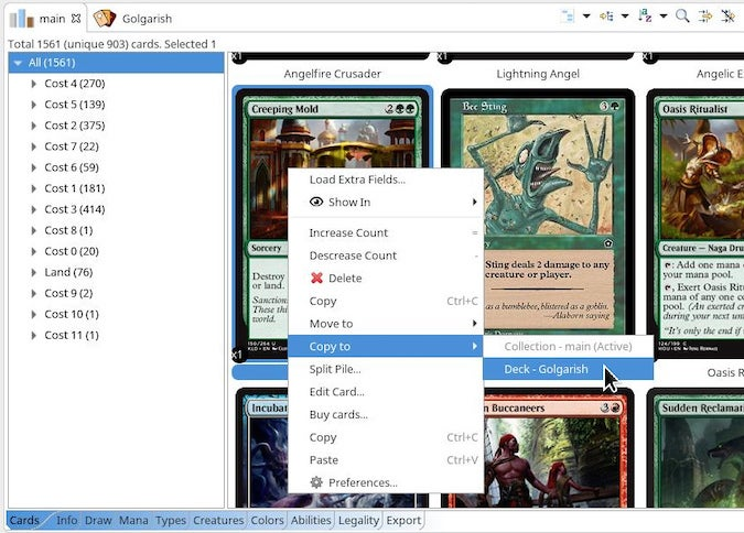 Using Copy to to add a card to a specific deck