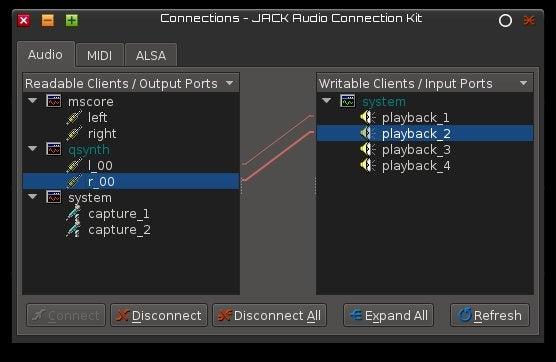 JACK Audio Connection Kit Audio Tab