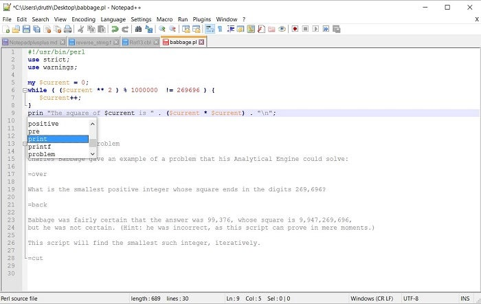 Working on a Perl project