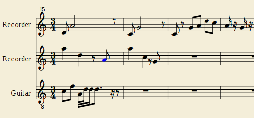 Musescore screenshot, notes