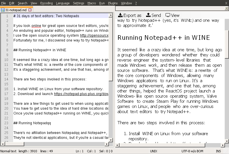 Notepad++ running in WINE on Linux
