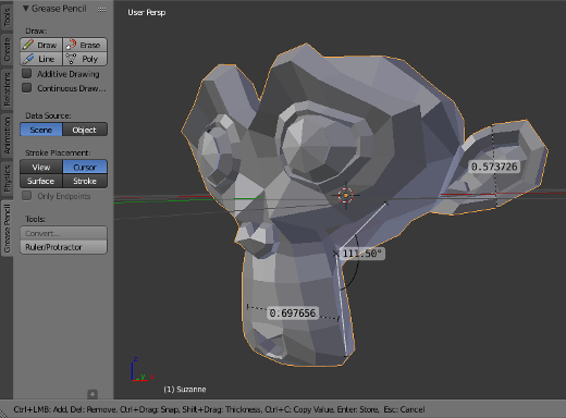 screenshot: Measure parts of your mesh with Blender's built-in ruler