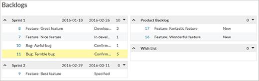 OpenProject backlogs view screenshot