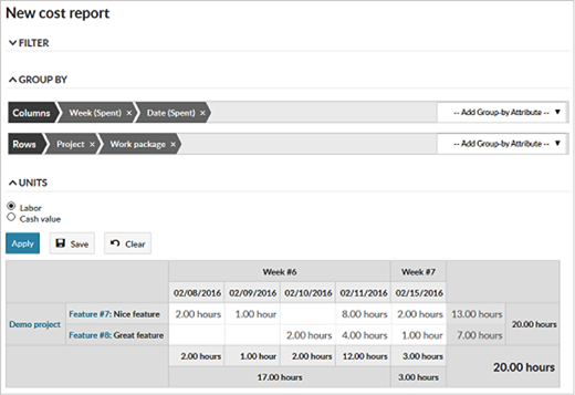 OpenProject time and cost reporting view screenshot