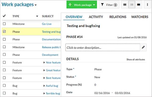 OpenProject work packages split view screenshot