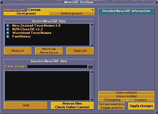 NewGRF settings window