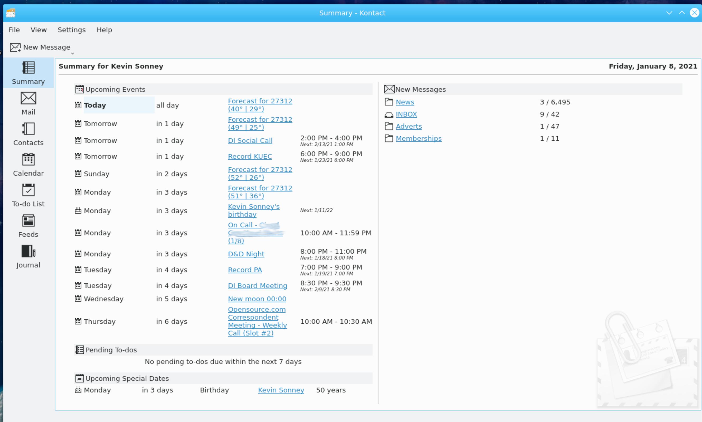 Kontact Summary screen