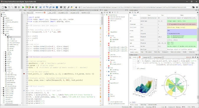 Screenshot of Spyder Python IDE