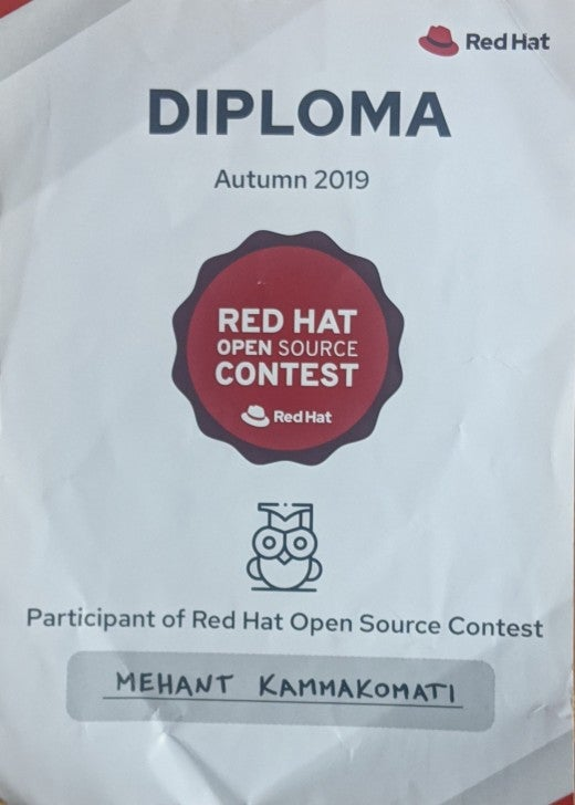 Red Hat Open Source contest certificate
