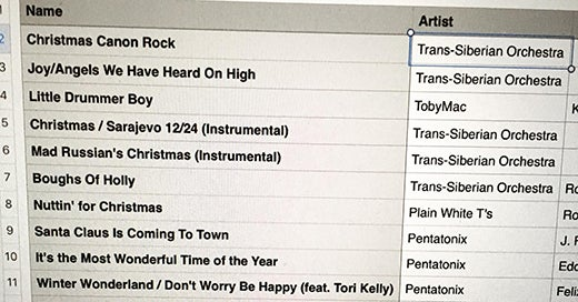 Christmas playlist screenshot