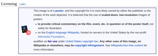Example Wikipedia explanation for fair use of an image.