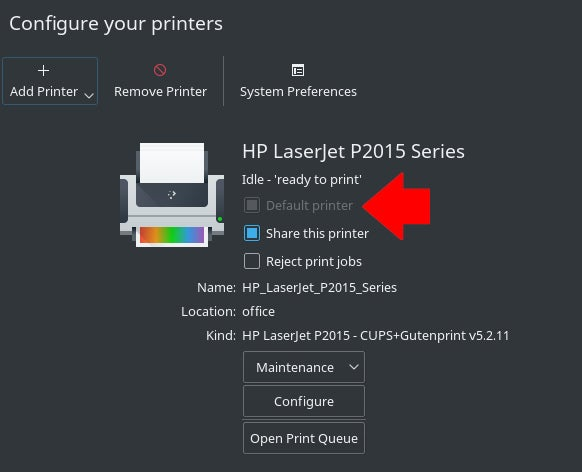 dialog box to set default printer