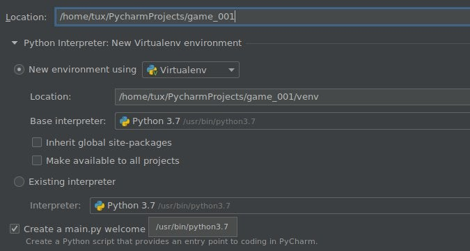 New project settings in PyCharm